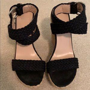 Stuart Weitzman black wedge sandals